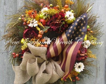 Patriotic Wreath, Fall Wreath, Autumn Wreath, Americana Wreath, Williamsburg Wreath, Flag Wreath, Thanksgiving, Harvest, Tea Stained Flag