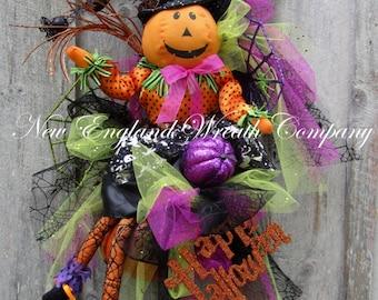 Halloween Wreath, Halloween Door Decor, Elegant Halloween Wreath, Halloween Party Decor, Whimsical Halloween Wreath