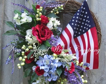 FALL SALE Patriotic Wreath, Fourth of July Wreath, Memorial Day, Summer Floral Wreath, Designer Wreath, Elegant Patriotic Wreath, American F