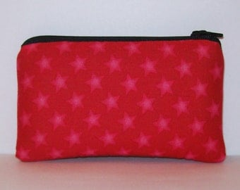 "Padded Pouch, Red Stars Bag, Pipe Case, Pipe Bag, Padded Pipe Pouch, Small Pouch, Star Pouch, Red Zipper Pouch, Cute Pipe Pouch - 5.5"" SMALL"