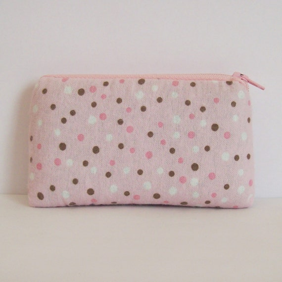 "Pink Pipe Pouch, Spots Pipe Case, Glass Pipe Bag, Padded Pouch, Cute Pouch, Small Pouch, Stoner Gift, Girly Pipe Case, Pink Bag - 5.5"" SMALL"
