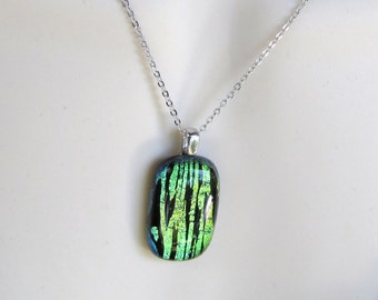 Dichroic Glass Pendant necklace on chain multi colored rectangle pendant, glass necklace
