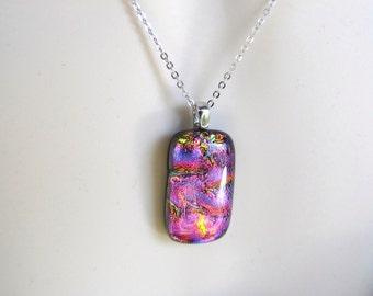 Dichroic Glass Pendant necklace on chain multi colored square pendant, glass necklace