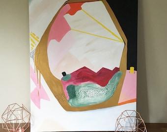 Artwork, Abstract Art, Wall Art, Home Decor, Gold, Pink, Black, Neutral, Yellow, Fine Art Print