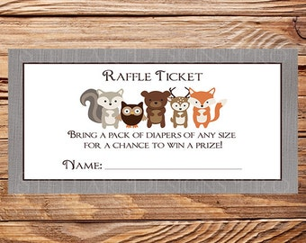 Woodland Diaper Raffle, Raffle Ticket, Woodland, gray, deer, fox, 4x2, As is instant download - 1PDF 8.5x11, 1558