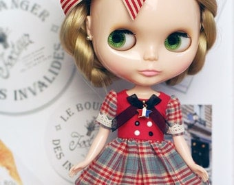 Melissa red Dress - for Blythe, MocaPinoRu, Mary&Ann - doll outfit - by kreamdoll