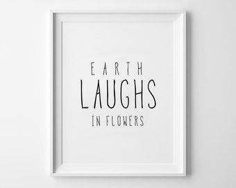 Earth Nursery Decor, Wall Art, Kids Room Decoration, Handwritten Poster, Black and White, Scandinavian, Earth Laughs in Flowers