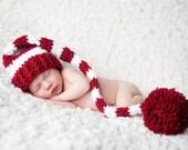 Newborn Santa Hat, Striped Christmas Elf Hat, Newborn Christmas, Christmas Photo Prop, Newborn Photo Prop, Burgandy and White Hat