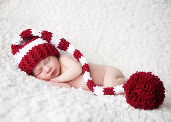 Newborn Santa Hat Striped Christmas Elf Hat Newborn