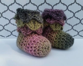 Newborn Crochet Baby Booties Crocodile Stitch Baby Slippers