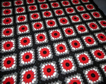 """Large Afghan Blanket - Scarlet, Gray, White, Black Border - Bed Couch Stadium  Dorm Room Size 68"""" x 56"""" - Proudly Made in Ohio -  Item 4420"""