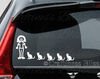 "Crazy Cat Lady decal for car or truck window 4"" x ? vinyl decal"