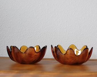 Vintage BLENKO amber glass petal bowls PAIR
