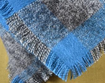 Turquoise Blanket Scarf Wrap Warm Brushed Cotton Fringed Edges Plaid Turquoise Gray