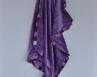 Cozy Wozy Paisley Minky Luxury Baby Blanket--Purple Blanket with satin trim