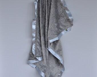 Cozy Wozy Paisley Minky Luxury Baby Blanket-- Silver Gray minky with satin trim