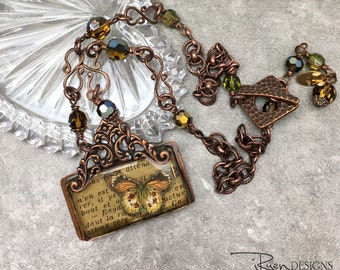 Handmade Mixed Media Necklace - Butterfly Pendant Necklace - Handmade Soldered Bezel Necklace - Published Jewelry Affaire