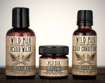Mens Grooming Kit - Wild Man Beard Gift Set - Three Pack - Beard Oil Conditioner, Beard Wash and Beard Cream