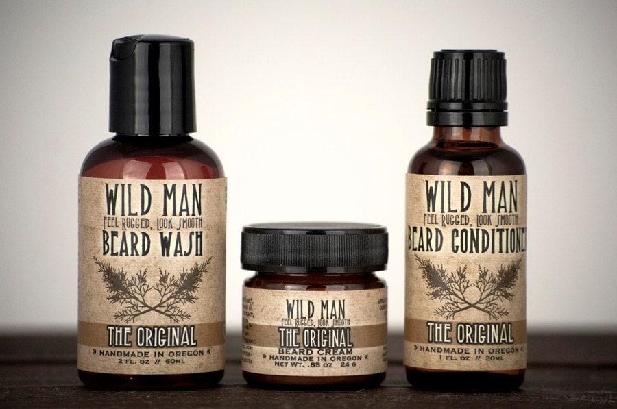 mens grooming kit wild man beard gift set three pack. Black Bedroom Furniture Sets. Home Design Ideas