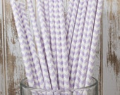 25 Lavender Chevron vintage striped paper drinking straws - with FREE Flag Template