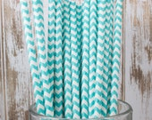 25 Ct Light Aqua Chevron vintage striped paper drinking straws - with FREE DIY Flag Template