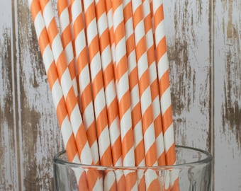"""100 orange and white barber striped paper drinking  straws -  with FREE DIY Flag Template.  See also - """"Personalized"""" flags option."""