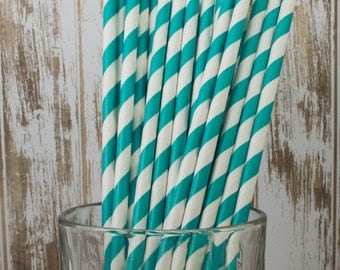 "100 Dark Aqua barber striped paper drinking straws - biodegradable with FREE Blank Paper Flags.  See also - ""Personalized"" flags option."