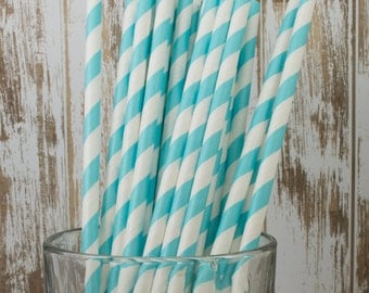 "100 Robin's Egg Aqua Blue barber striped paper drinking straws | biodegradable with FREE Blank Flag | See also - ""Personalized"" flag option"