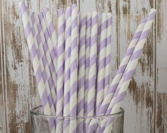 25 Lavender barber stripe paper drinking straws - cake pop sticks, vintage, party, bulk straws