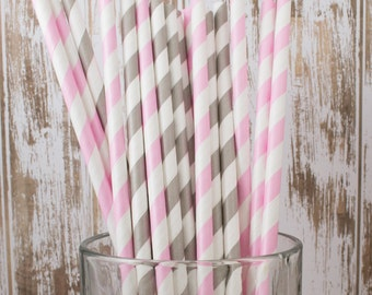 "50 pink & grey mixed combo barber striped paper drinking straws , FREE DIY Flags.  See also - ""Personalized"" flags option."