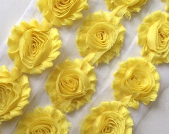 "Lemon Yellow Shabby Rose Trim 2.5"" Shabby Flowers Shabby Chiffon Flowers Solid Shabby Chic Trim Wholesale Rosette trim 6cm 1 yard #803"