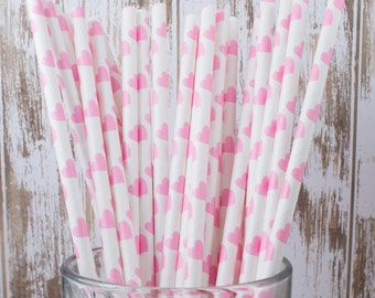 "25 Pink Hearts polka dot paper drinking straws - with FREE DIY Flag Template.  See also - ""Personalized"" flags option."