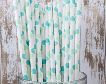 "25 aqua blue and green polka dot paper drinking straws -  with FREE DIY Flag Template.  See also - ""Personalized"" flags option."