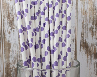 """25 Purple Polka Dot paper drinking straws - with FREE Blank Flag Template.  See also """"Personalized"""" flags option."""
