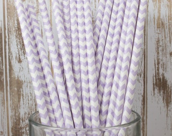 25 Lavender Chevron vintage striped paper drinking straws - with FREE DIY Flag Template