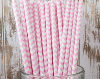 25 Ct Light Pink Chevron vintage striped paper drinking straws - with FREE DIY Flag Template