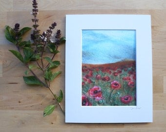 Field of Poppies - Giclee Art Print Wool Painting Reproduction - 5x7 Print/8x10 Mat