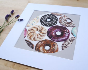 Give Me All the Donuts - Giclee Art Print Wool Painting Reproduction - Large