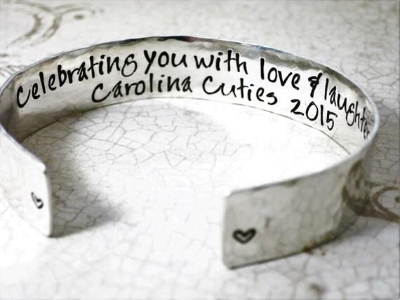 """Sterling Silver Cuff Bracelet - 1/2"""" Cuff - Thick Cuff - Custom Cuff Bracelet - Hand Stamped Cuff - Custom Quote Bracelet - Inspirational"""