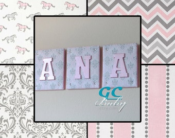 Tufted Fabric Letter Plaques - 20 Prints - Personalized Name, Initial, or Monogram Decor for Baby Nursery, Girls Room, Boys Bedroom