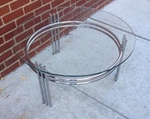 Round Mid Century Modern Glass and Chrome Coffee Table