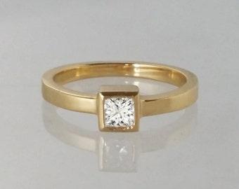 Princess cut diamond engagement ring, square diamond ring, cube design diamond ring, modern diamond ring