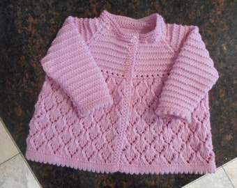 Beautiful Pink  Italian Merino Hand Knitted Baby Girl's Lacy Matinee Jacket  / Sweater Size 19 inches - Age 6 - 9 months +  Made in Scotland