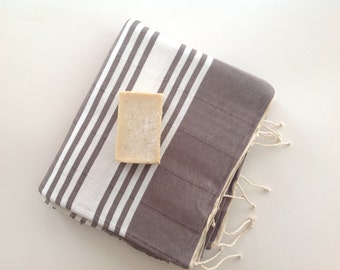 Gift for Men, Turkish Towel home-garden / bath-beauty Peshtemal , Natural Cotton Beach Towel, for him, Elegant, man, dads, gray, grey,