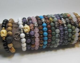 Custom made Buddha stretch bracelet - 21 beads mala in 8mm stone - buddhist prayer bracelet - stretch bracelet - healing stones - yoga