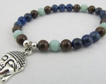 Ready to ship Buddha stretchy mala bracelet - 6mm in bronzite, lapis lazuli and amazonite- 27 beads mala bracelet