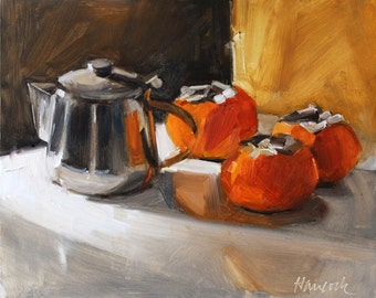 Persimmons and Silver Pot with Gold Background
