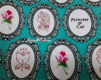 Princess and cat, on teal, fat quarter, pure cotton fabric
