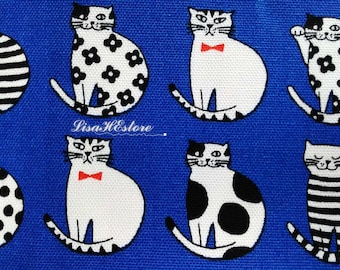 Cat with bow tie, on blue, fat quarter, pure cotton fabric