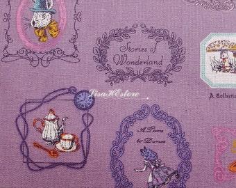 SALE - Alice in Wonderland, purple, 1/2 yard, pure cotton fabric
